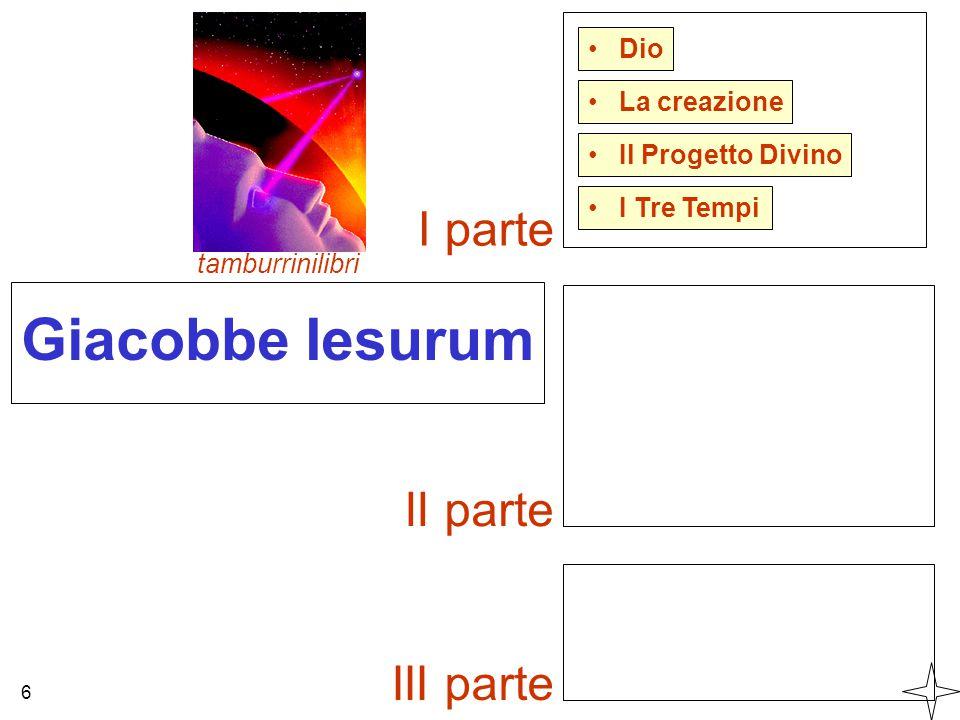 Giacobbe Iesurum I parte II parte III parte Dio La creazione