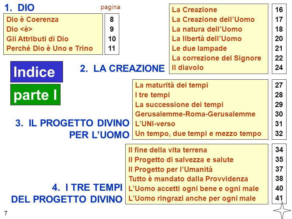 Indice parte I 1. DIO 2. LA CREAZIONE 3. IL PROGETTO DIVINO PER L'UOMO