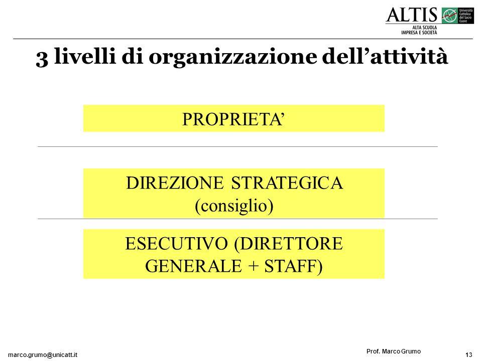 3 livelli di organizzazione dell'attività