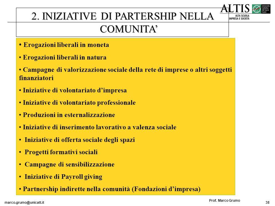 2. INIZIATIVE DI PARTERSHIP NELLA COMUNITA'