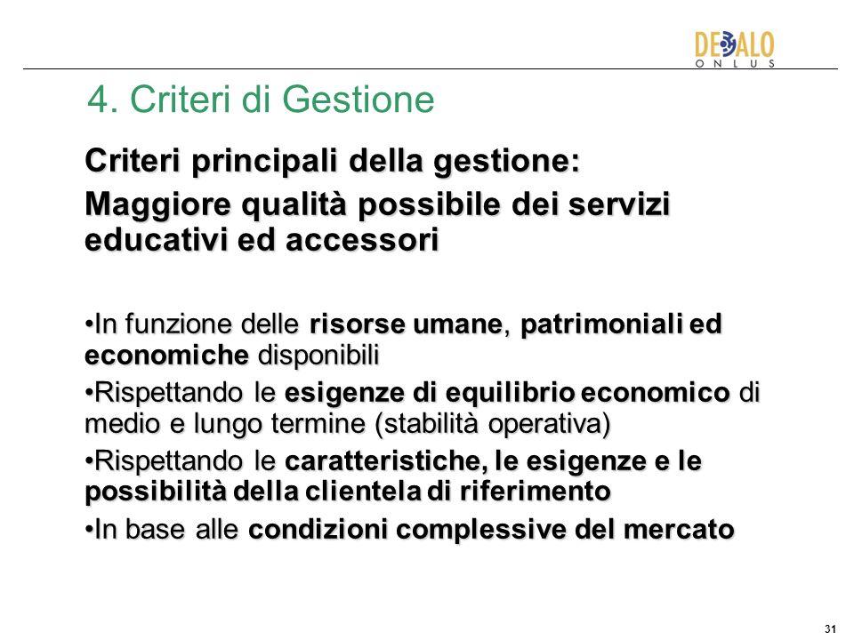 4. Criteri di Gestione Criteri principali della gestione: