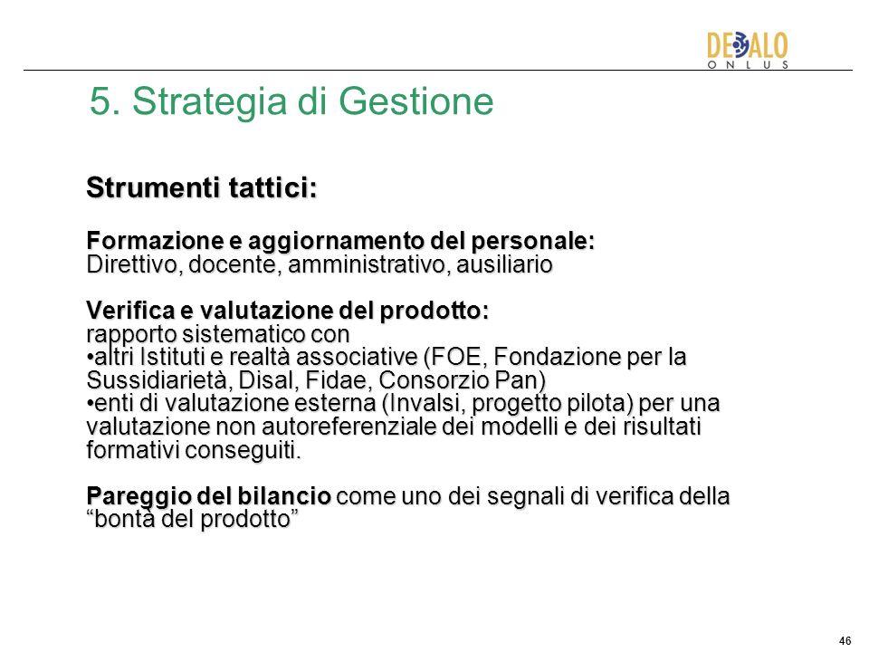 5. Strategia di Gestione Strumenti tattici: