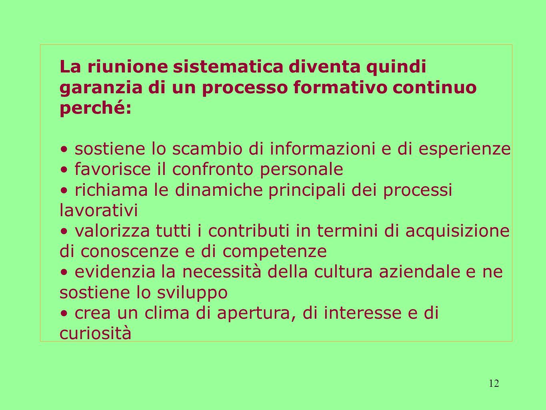 La riunione sistematica diventa quindi garanzia di un processo formativo continuo perché: