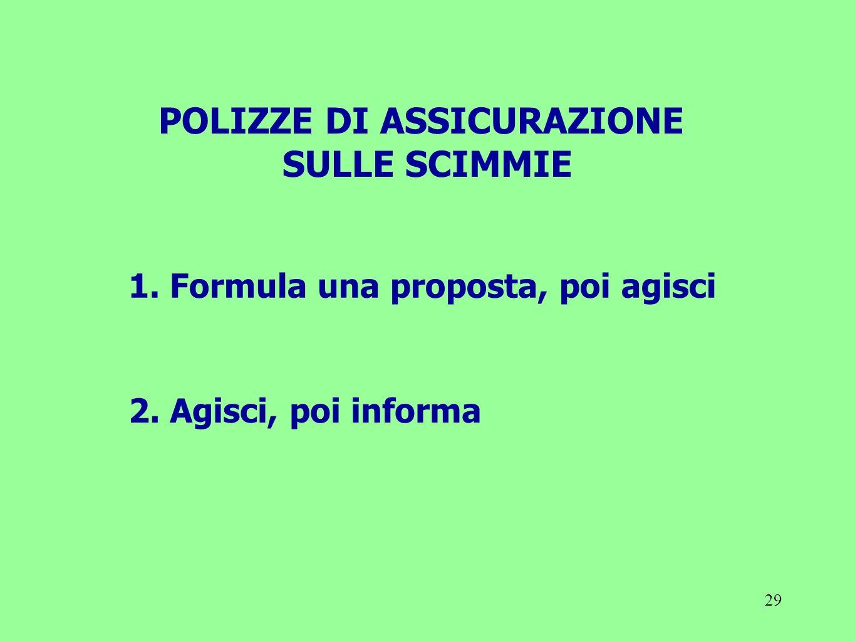 POLIZZE DI ASSICURAZIONE 1. Formula una proposta, poi agisci