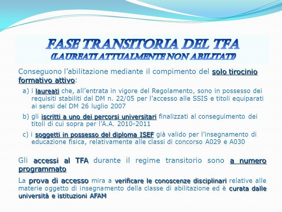 Fase transitoria del TFA (laureati attualmente non abilitati)