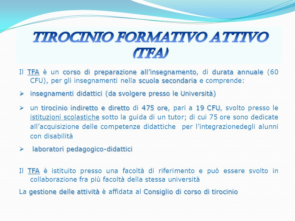 Tirocinio Formativo Attivo (TFA)