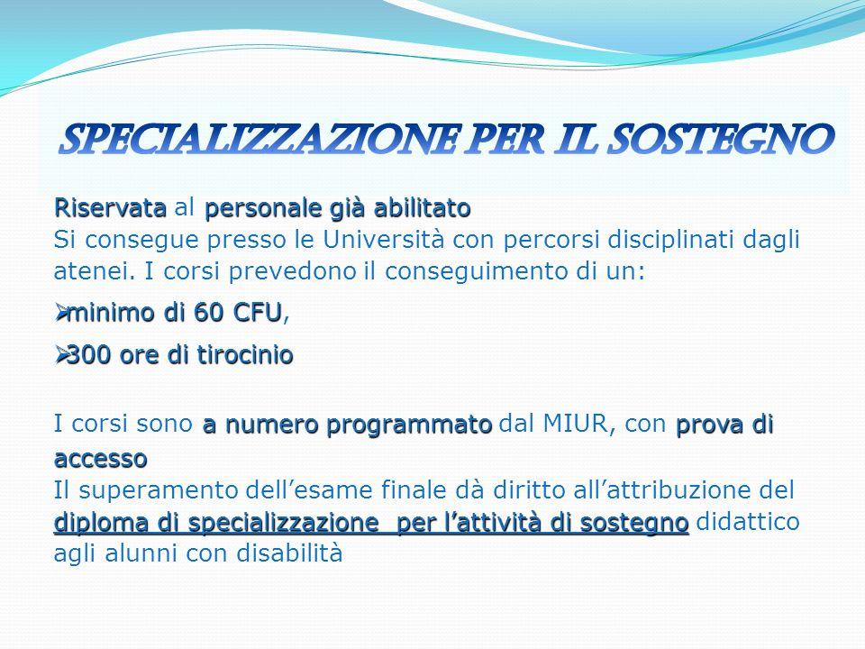 Specializzazione per il Sostegno