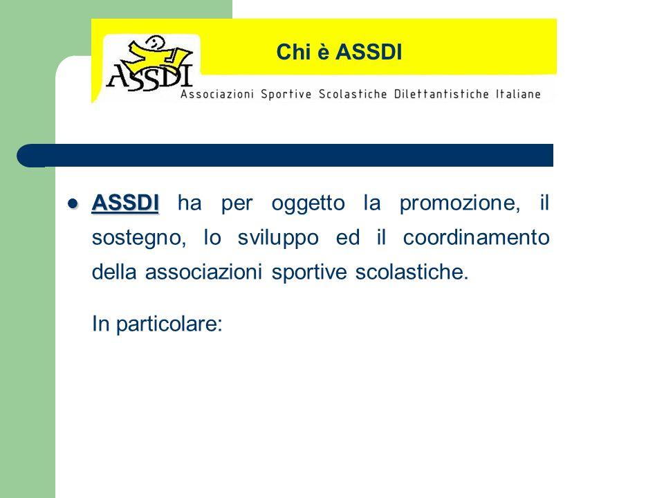 Chi è ASSDI ASSDI ha per oggetto la promozione, il sostegno, lo sviluppo ed il coordinamento della associazioni sportive scolastiche.