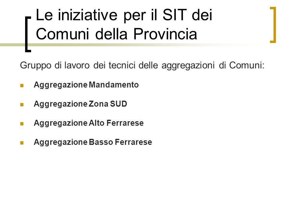 Le iniziative per il SIT dei Comuni della Provincia
