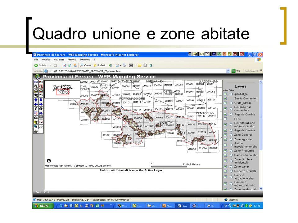 Quadro unione e zone abitate