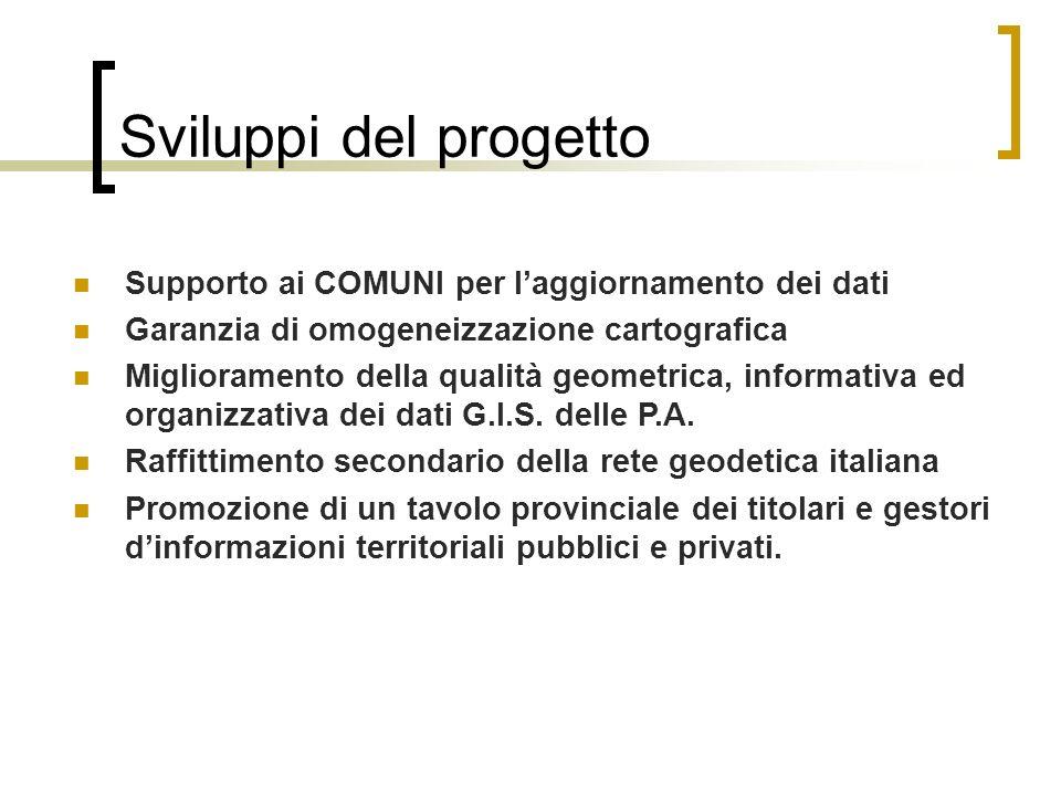 Sviluppi del progetto Supporto ai COMUNI per l'aggiornamento dei dati
