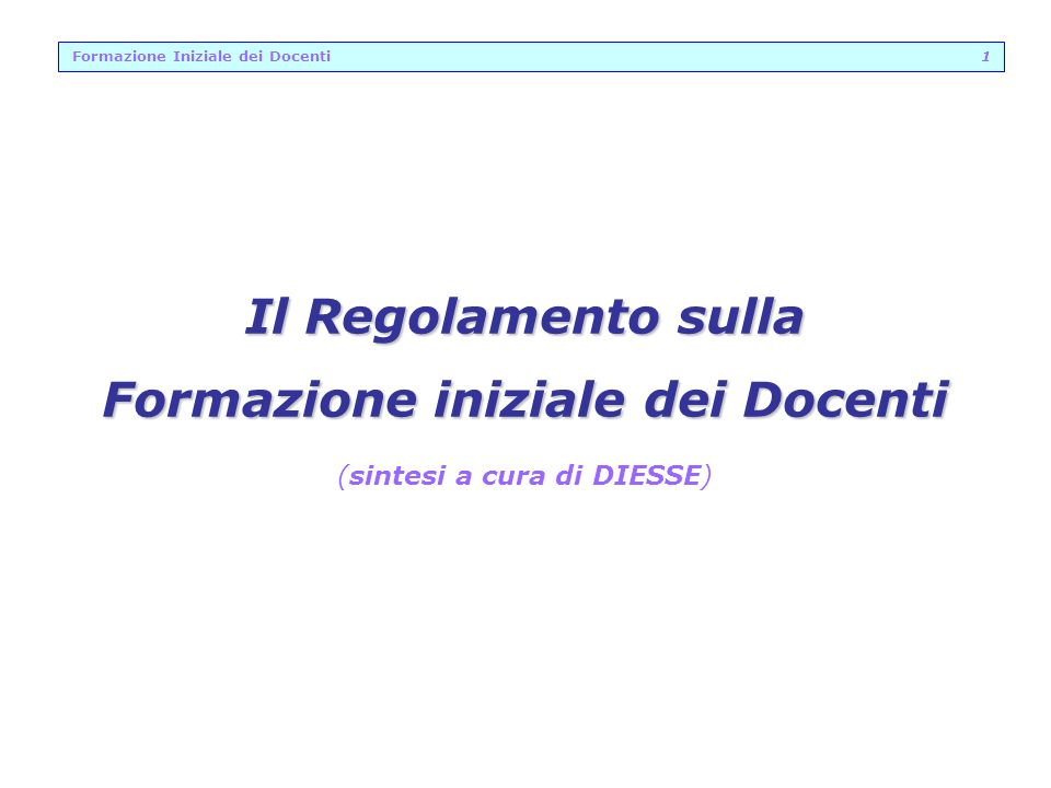Formazione Iniziale dei Docenti 1