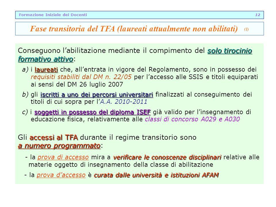 Fase transitoria del TFA (laureati attualmente non abilitati) (1)