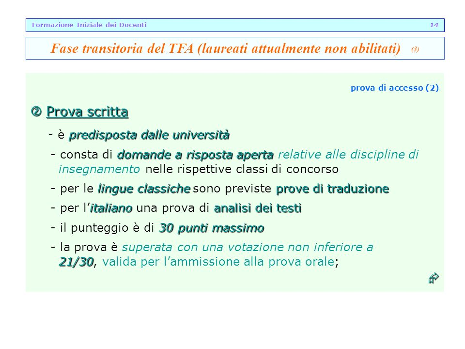 Fase transitoria del TFA (laureati attualmente non abilitati) (3)