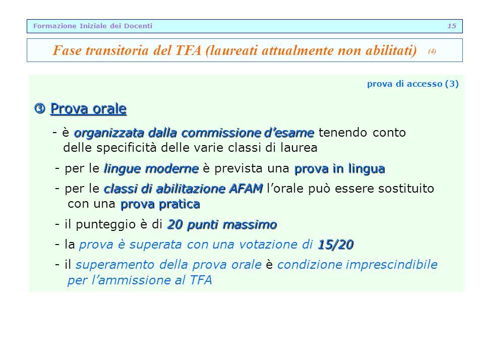 Fase transitoria del TFA (laureati attualmente non abilitati) (4)