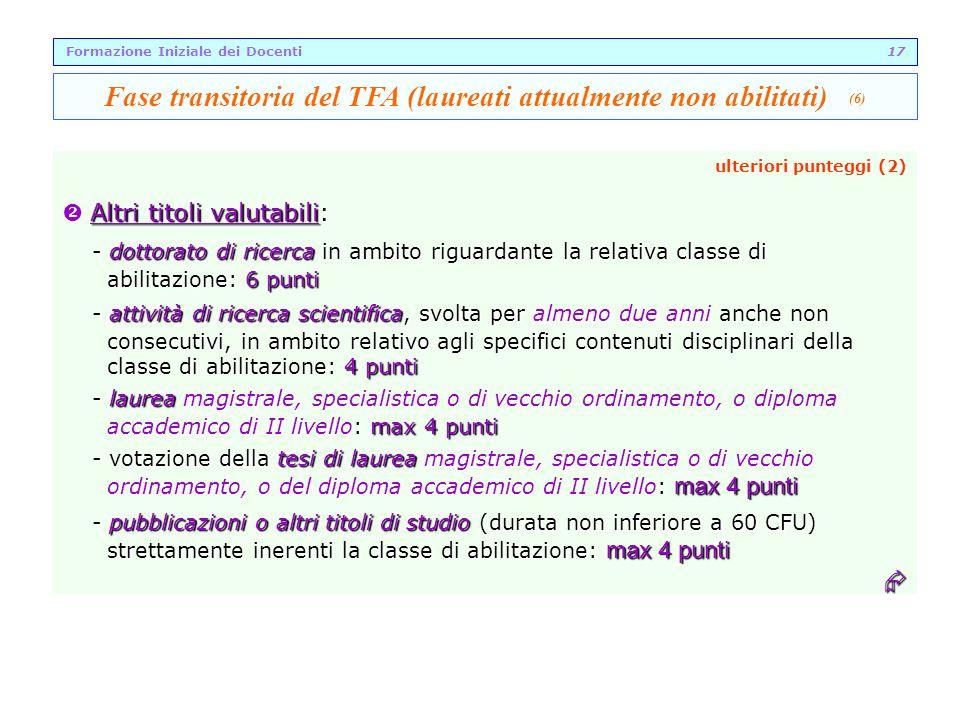 Fase transitoria del TFA (laureati attualmente non abilitati) (6)