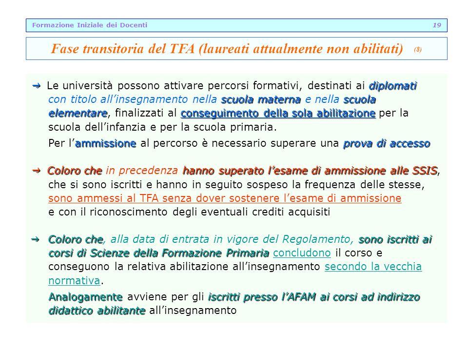 Fase transitoria del TFA (laureati attualmente non abilitati) (8)