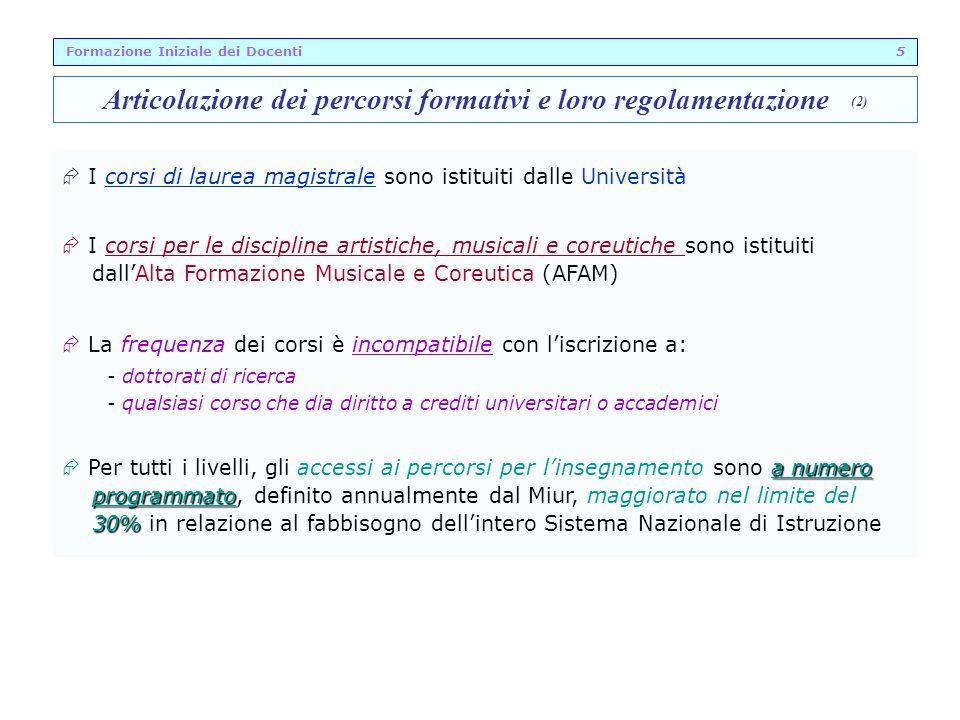 Articolazione dei percorsi formativi e loro regolamentazione (2)