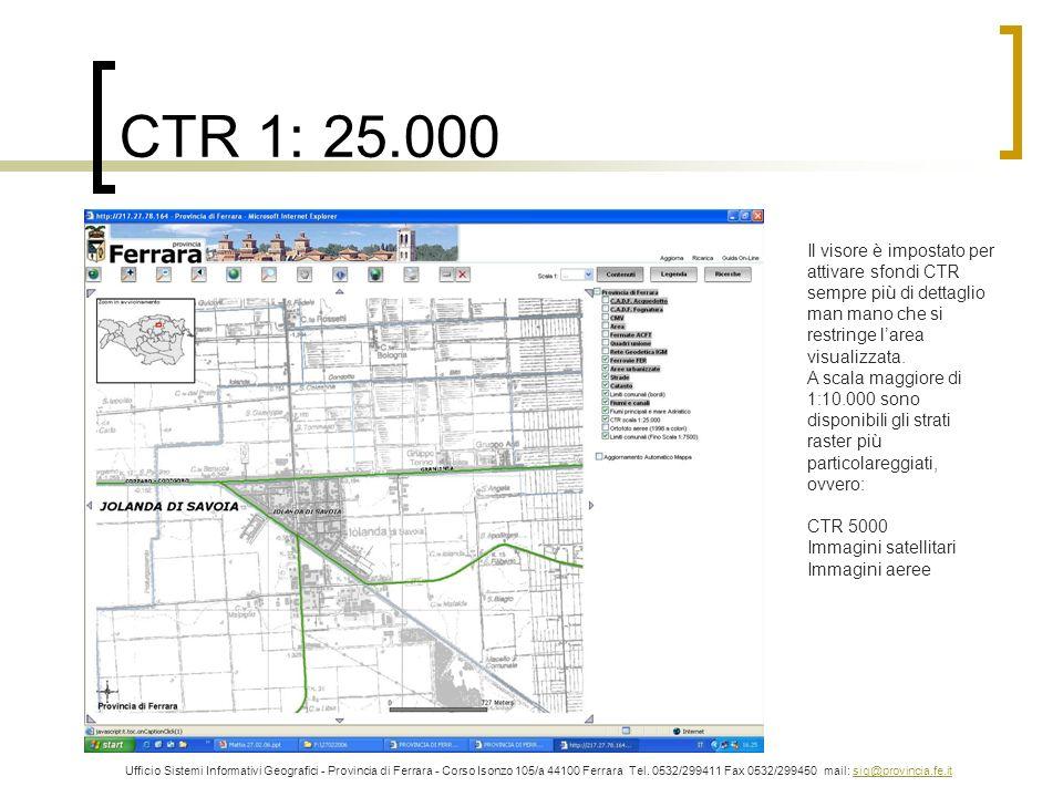 CTR 1: 25.000 Il visore è impostato per attivare sfondi CTR