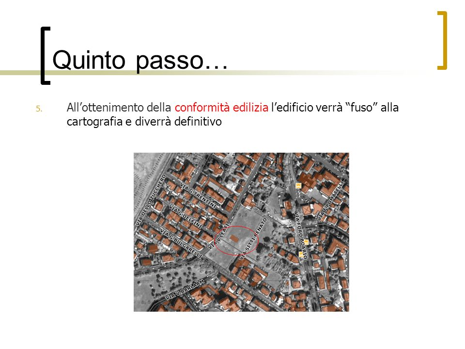 Quinto passo… All'ottenimento della conformità edilizia l'edificio verrà fuso alla cartografia e diverrà definitivo.