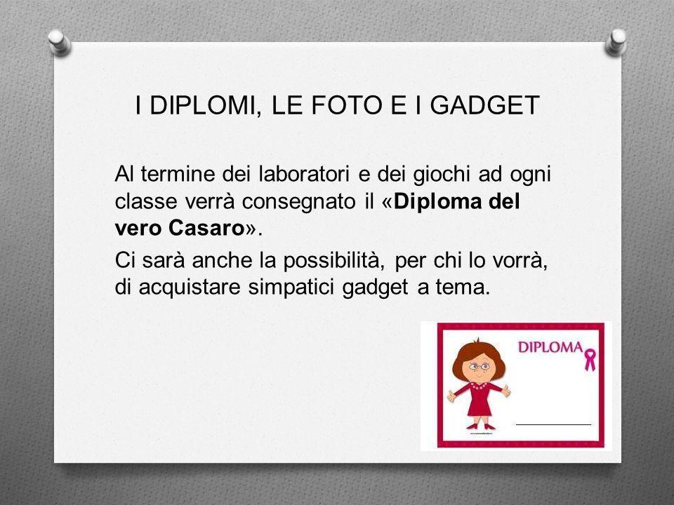 I DIPLOMI, LE FOTO E I GADGET