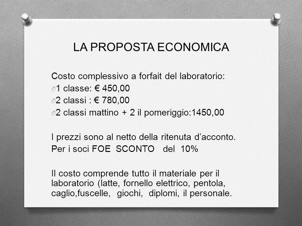 LA PROPOSTA ECONOMICA Costo complessivo a forfait del laboratorio:
