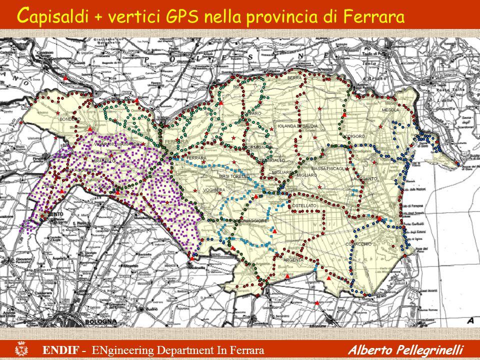 Capisaldi + vertici GPS nella provincia di Ferrara