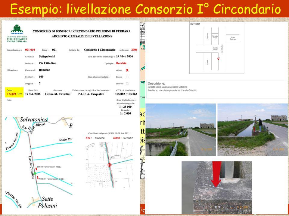 Esempio: livellazione Consorzio I° Circondario