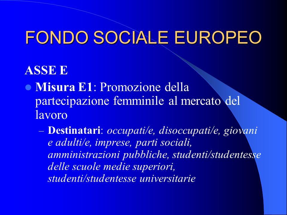 FONDO SOCIALE EUROPEO ASSE E