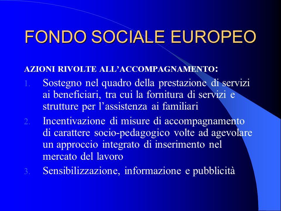 FONDO SOCIALE EUROPEO AZIONI RIVOLTE ALL'ACCOMPAGNAMENTO: