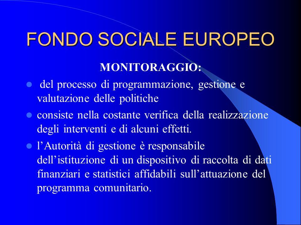 FONDO SOCIALE EUROPEO MONITORAGGIO: