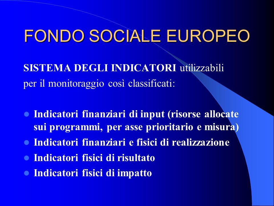 FONDO SOCIALE EUROPEO SISTEMA DEGLI INDICATORI utilizzabili