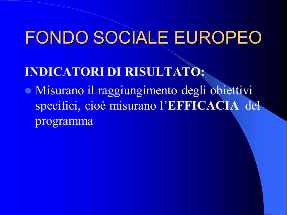 FONDO SOCIALE EUROPEO INDICATORI DI RISULTATO: