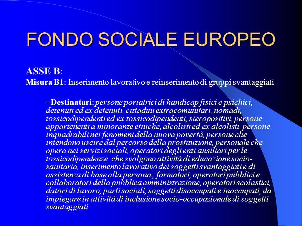 FONDO SOCIALE EUROPEO ASSE B: