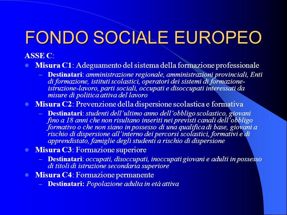 FONDO SOCIALE EUROPEO ASSE C: