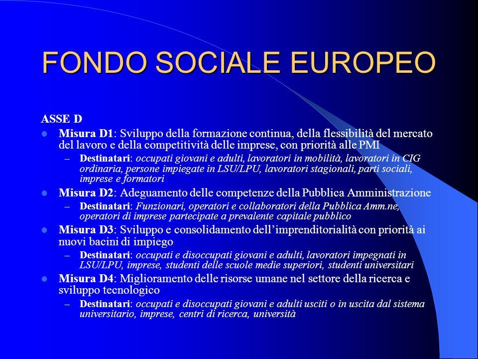FONDO SOCIALE EUROPEO ASSE D