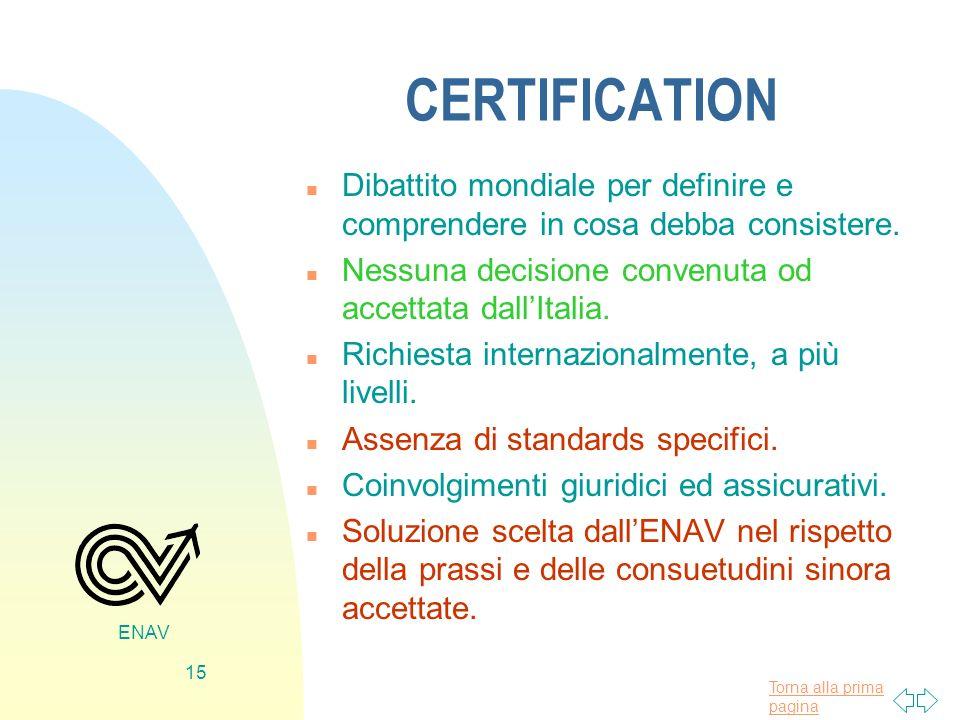 CERTIFICATION Dibattito mondiale per definire e comprendere in cosa debba consistere. Nessuna decisione convenuta od accettata dall'Italia.