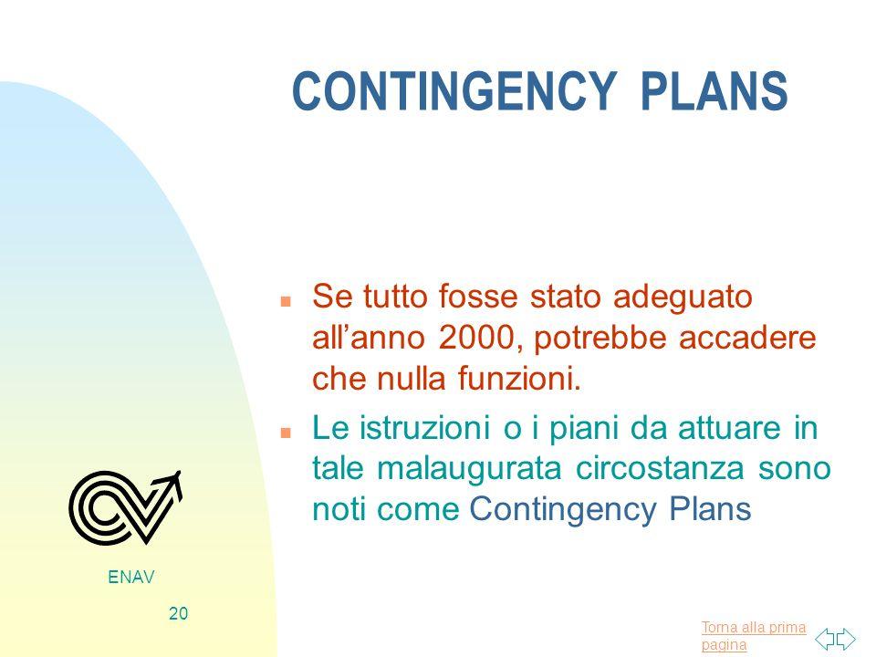 CONTINGENCY PLANS Se tutto fosse stato adeguato all'anno 2000, potrebbe accadere che nulla funzioni.