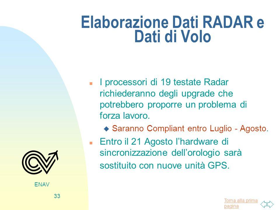 Elaborazione Dati RADAR e Dati di Volo