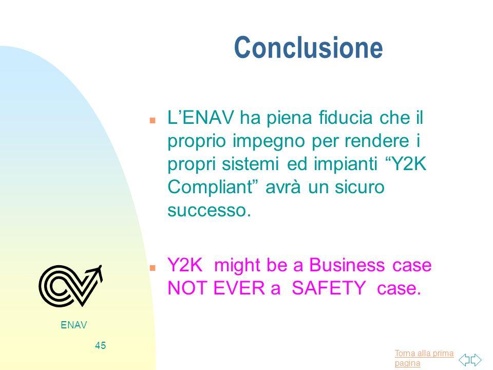 Conclusione L'ENAV ha piena fiducia che il proprio impegno per rendere i propri sistemi ed impianti Y2K Compliant avrà un sicuro successo.