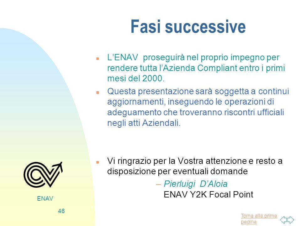 Fasi successive L'ENAV proseguirà nel proprio impegno per rendere tutta l'Azienda Compliant entro i primi mesi del 2000.