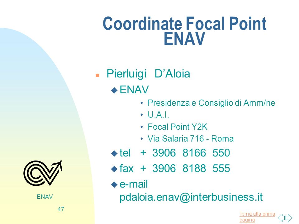 Coordinate Focal Point ENAV