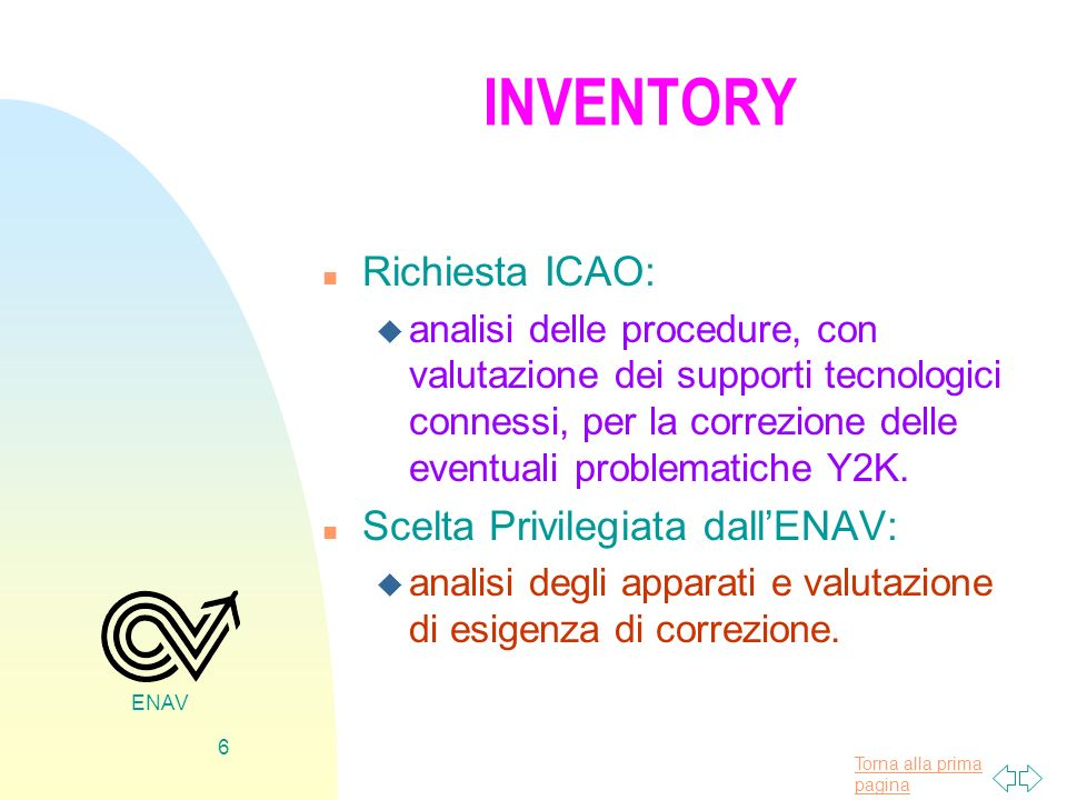 INVENTORY Richiesta ICAO: Scelta Privilegiata dall'ENAV: