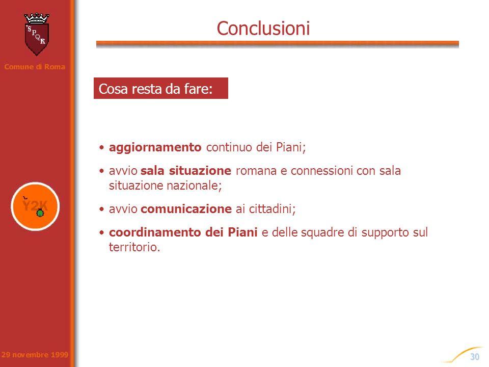 Conclusioni Cosa resta da fare: aggiornamento continuo dei Piani;