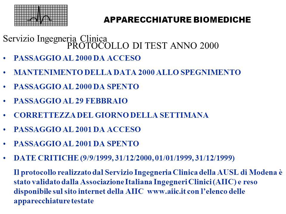 Servizio Ingegneria Clinica PROTOCOLLO DI TEST ANNO 2000