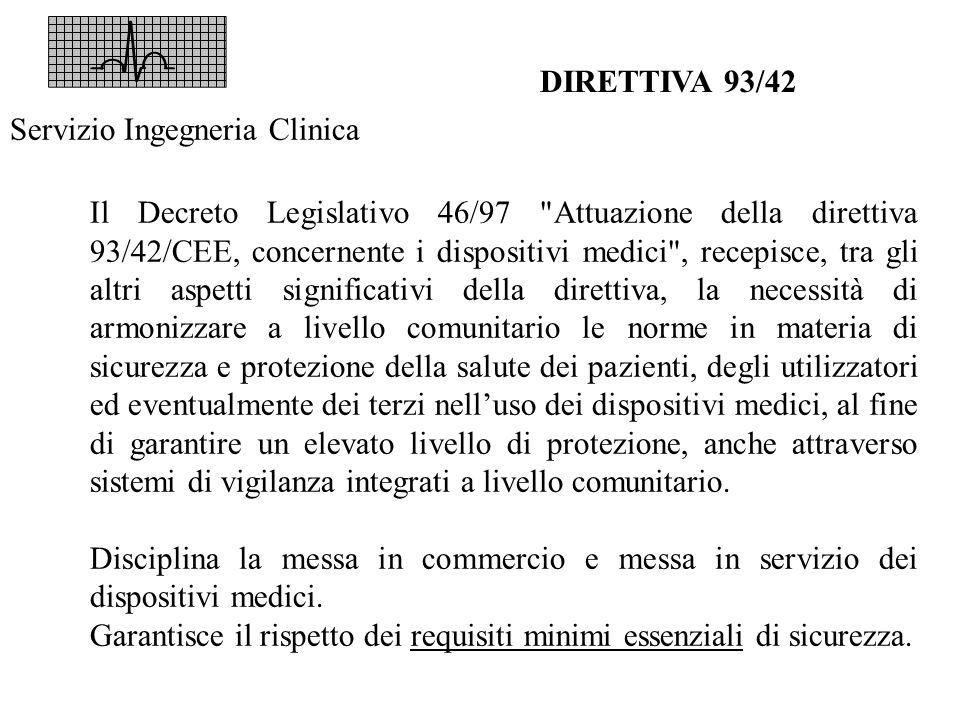 DIRETTIVA 93/42 Servizio Ingegneria Clinica.