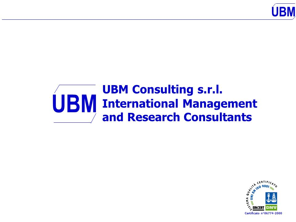 UBM UBM Consulting s.r.l. International Management