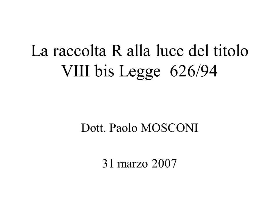 La raccolta R alla luce del titolo VIII bis Legge 626/94