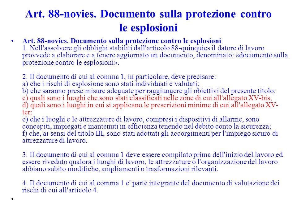 Art. 88-novies. Documento sulla protezione contro le esplosioni