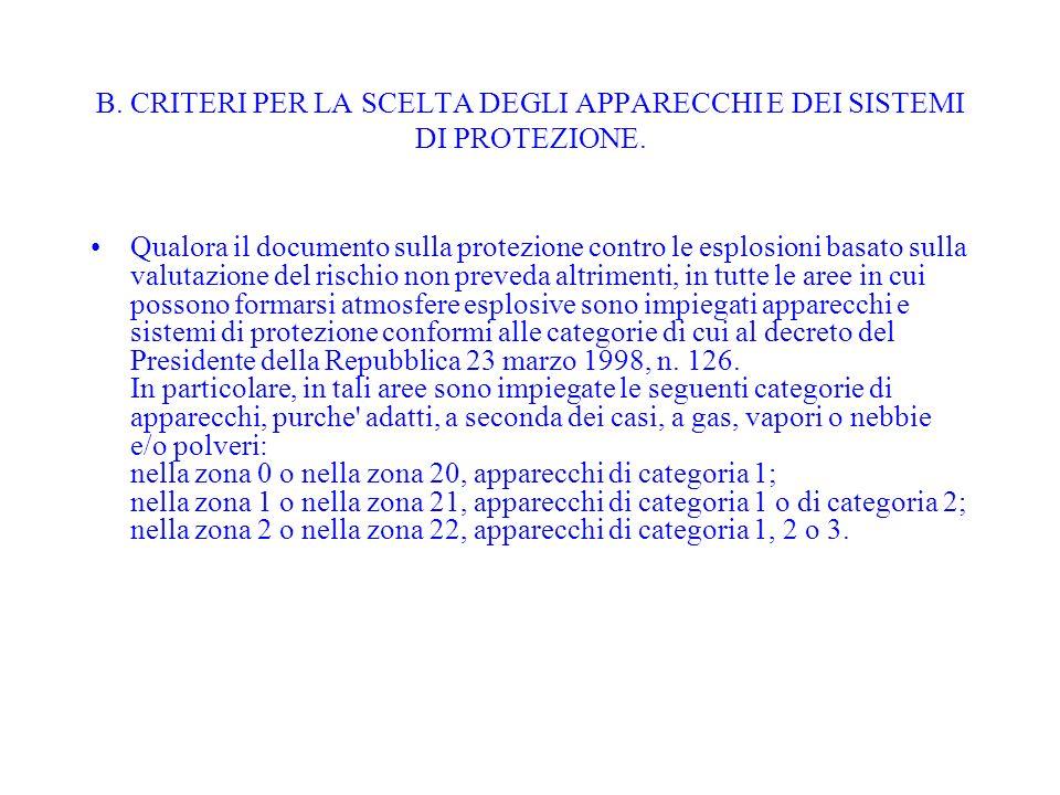 B. CRITERI PER LA SCELTA DEGLI APPARECCHI E DEI SISTEMI DI PROTEZIONE.